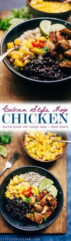 Cuban Style Mojo Chicken Quinoa Bowls with Mango Salsa and Black Beans #Chicken #Healthy #Mexican