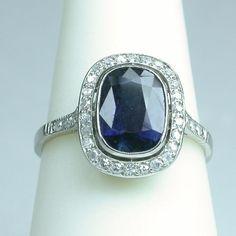 Art Deco sapphire and diamond engagement ring - $1,850 USD