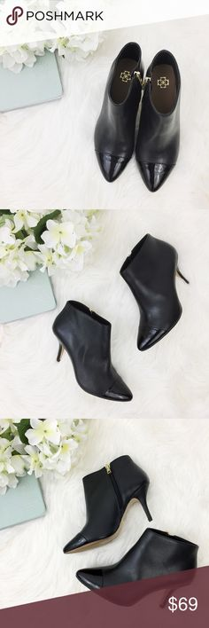 """Ann Taylor • Black Cap Toe Booties Perfect black booties from Ann Taylor • These booties are in excellent condition with most wear to rubber soles • extremely minor scratches to leather are virtually non-existent and barely even show for photos, but noted • Any superficial marks in leather are not visible from more than about 6"""" away • Glue spot on inside right shoe but does not impact shoe integrity • zips up side with gold zipper toggle • patent leather toe // heel height approx 3""""  •…"""
