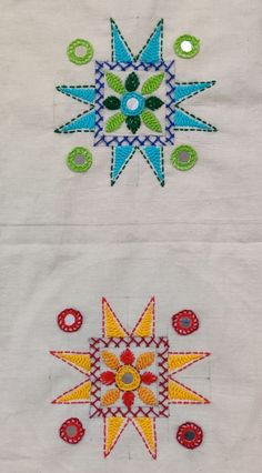 The same design in two different color schemes, looks elegantly different! Handmade Embroidery Designs, Hand Embroidery Patterns Flowers, Hand Embroidery Videos, Embroidery Stitches Tutorial, Embroidery Works, Embroidery Motifs, Creative Embroidery, Simple Embroidery, Hand Embroidery Designs