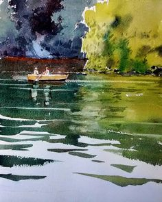 Yong Hong Zhong didn't leave message Watercolor Water, Watercolor Landscape Paintings, Abstract Landscape, Watercolour Painting, Watercolours, Boat Painting, Water Art, Mountain Landscape, Strand