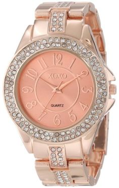 XOXO Women's XO5466 Rhinestone Accent Rose Gold Analog Bracelet Watch for $19.99