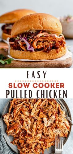 Slow cooker pulled chicken is over-the-top flavorful and guaranteed to be a family favorite! So, grab your crockpot and let's make some super easy pulled chicken! This pulled chicken recipe is chicken thighs simmered in the slow cooker with a tasty homemade BBQ sauce until tender. Shred the chicken, then serve it piled on toasted Brioche buns with coleslaw, over a salad, stuffed in a baked potato or in a wrap. The options are endless! Easy Pulled Chicken Recipe, Shredded Bbq Chicken, Bbq Chicken Salad, Baked Chicken, Pork Recipes, Slow Cooker Recipes, Cooking Recipes, Sandwich Recipes, Easy Recipes
