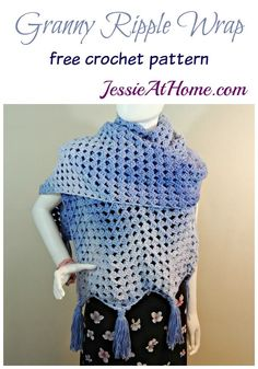 """Granny Ripple Wrap free crochet pattern by Jessie At Home - """"The Granny Ripple Wrap is a large, warm wrap great for cool evenings."""""""