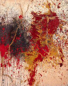 """Shozo Shimamoto (Japanese: 1928-2013), Untitled, 1955. Mixed media on canvas. """""""