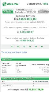 Mega-Sena 1582 - resultado do concurso de hoje, 15/03/2013