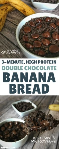 This high protein banana bread recipe puts a double chocolate spin on classic banana bread and packs 26 grams of protein into one microwaveable mug cake-style banana bread loaf. With a short ingredient list and under 2-minute cook time, this is perfect for when you need a high protein snack in a pinch.