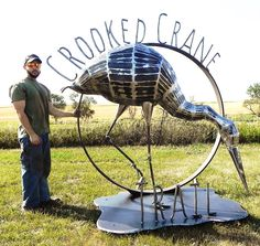 Metal sculpture that I created for the Crooked Crane Trail by Patterson Lake