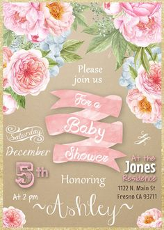 Garden Party Baby Shower Invitation Invite Water Color Flowers Pink Gold Mint Peach Rustic Vintage Shabby Chic