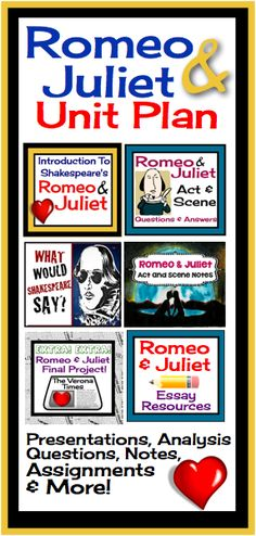This comprehensive unit for Romeo and Juliet contains everything you will need to not only teach Shakespeare's tragedy, but also to keep the students engaged! I have used this unit with my students with great success , and I hope it will make your life easier if you have been given the task to teach this play.