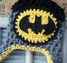Baby Boy Hat Batman Bat man Superhero Hero infant newborn Earflap crochet Hat Toddler Baby Photo Studio Prop Hat Photography