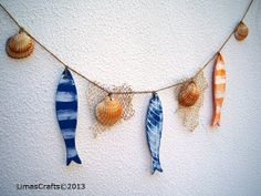 Rustic Fishes,Seashell Garland,Nautical Bunting,Wooden Fishes,Nautical Decoration, Maritime Decoration, Colourful Fishes,Nautical Garland