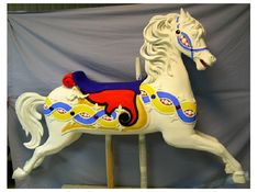 1908 Parker Carousel Horse, Jumper Peek-a-boo Mane, 72 inch, still in painting, still waiting to gold leaf and antique.