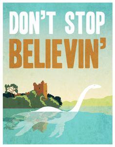 Don't stop believin' Loch Ness Monster - 11x14 Print. $27.00, via Etsy.