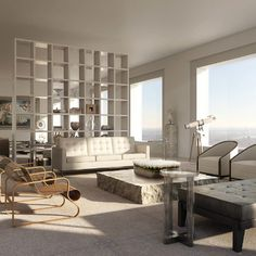 Luxury Park Avenue Condos: Living Room - 432 Park Avenue will be the tallest residential tower in the western hemisphere.