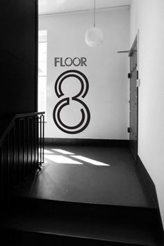Signage idea. #signage #wayfinding #system #design #number #eight #level #floor #indoor #line #linear #graphics #wall #black #white