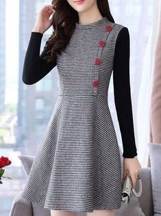 Stand Collar Women A-line Going out Wool blend Long Sleeve Dress Plaid Dress Spaghetti Strap Short Overalls Tops Cute Dresses, Casual Dresses, Short Dresses, Girls Dresses, Dresses With Sleeves, Classy Dress, Classy Outfits, Pretty Outfits, Mode Outfits