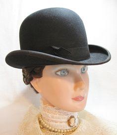Black Man s Bowler Derby Hat - Looks good on Ladies too. SOLD Black Felt 002461931e74