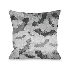 """One Bella Casa Flying Bats Throw Pillow Size: 16"""" H x 16"""" W x 3"""" D"""