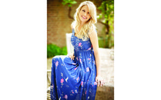 Floral and Swan Print Maxi Dress
