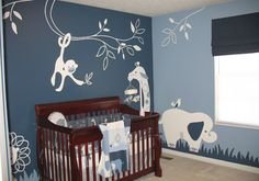 Modern boys room, white and different shades of blue, zoo animals.  My son's room. All hand painted. See more of my work at KatieGillespie.com