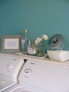 Laundry rooms: Lots of photos and ideas for staging the space for your washer, dryer, clothes rack and laundry supplies -- a prime space for easy improvements before selling your home.