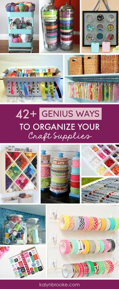 I love every one of these ideas for organizing craft supplies! Total #CraftRoomGoals. If you need a one stop shop for craft storage inspiration this is it! Everything is organized by category: Scrapbook Paper Organization, Sticker Organization, Stamp Organization, Washi Tape Organization, Ribbon Organization, Knitting Organization, Sewing Organization, and even craft organization tips for all the odds and ends in your craft room! via @kalynbrookeco