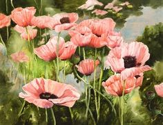Betty's Poppies by Joan Brown - Watercolor