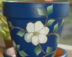 diy clay pots Hand Painted clay flower pot gentle white dogwood flowers and branches design or inches tall Flower Pot Art, Flower Pot Design, Clay Flower Pots, Flower Pot Crafts, Cactus Flower, Clay Pots, Clay Pot Projects, Clay Pot Crafts, Diy Clay