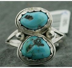 $250 Retail Tag-Handmade-Authentic-Made by Ben T. Riggs-Navajo-.925 Sterling Silver-Natural Sleeping Beauty Turquoise Ring