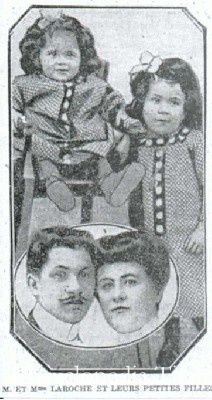 Mr. and Mrs. Joseph Laroche and their daughters, Simonne and Louise boarded the Titanic to travel from France to Haiti, Joseph's birthplace. Joseph did not survive.