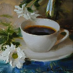 Kaffee und Kamille von Elena Katsyura Oil ~ 6 x 6 , Painting Still Life, Still Life Art, Paintings I Love, Tea Cup Art, Coffee Cup Art, Tee Kunst, Coffee Painting, Arte Popular, Traditional Paintings