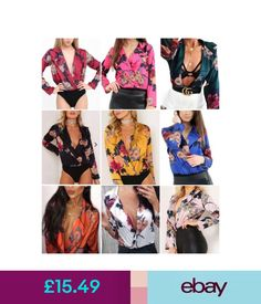 Tops  amp  Shirts Womens Ladies Floral Print Tuxedo Collared Wrap Over Satin  Bodysuit Top Uk 3bc230a68