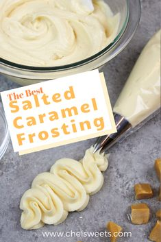 Salted Caramel Frosting Recipe - Chelsweets This salted caramel frosting is simply the best! It's packed with rich, buttery caramel, along with a flourish of salt that takes it to the next level Icing Frosting, Frosting Recipes, Cake Recipes, Dessert Recipes, Healthy Desserts, Cupcakes, Cupcake Cakes, Bundt Cakes, Salted Caramel Frosting