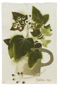 Mary Fedden R. (British, born Still life with ivy in a jug Watercolor And Ink, Watercolor Flowers, Watercolor Paintings, Flower Paintings, Watercolours, Royal College Of Art, Art For Art Sake, Botanical Art, Art Sketchbook
