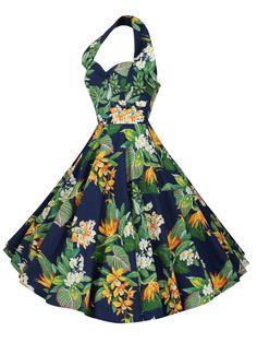 27d0e5995a 1950s Halterneck Birds of Paradise Navy Dress from Vivien of Holloway  Circle Dress, 50s Vintage