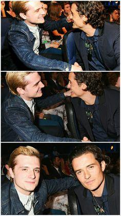 Josh with Orlando Bloom at the MTV Movie Awards 2014