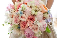 An all-time fave Fiore Blossoms bouquet. Roses, peonies, blushing bride protea, sweet peas, deer fern, tweedia. Photo: One Love Photo