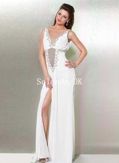 c696fdd174e2 Sheath Low V-neck Beaded High Slit Chiffon Prom Dress  145 Prom Dresses  Under 100