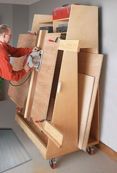 Panel-Cutting Lumber Cart. Panel saws make quick work of cutting large sheets of plywood without trying to feed them through a table saw