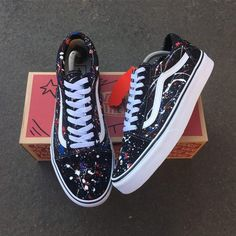 Vans x Splash by TA Customs ® Custom Vans Shoes, Mens Vans Shoes, Nike Air Shoes, Custom Sneakers, Vans Shoes Old Skool, Vans Sneakers, Vans X, Tenis Vans, Vans Shoes Fashion