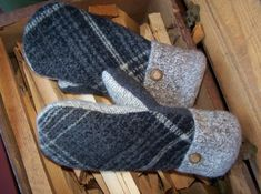 Felted Wool Mittens from Old Sweaters - Madawaska Mittens @ Rebecca Mae Designs Sweater Mittens, Old Sweater, Wool Socks, Wool Sweaters, Wool Felt, Felted Wool, Fingerless Mitts, Mittens Pattern, Winter Accessories