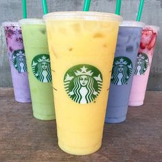 @starbucks secret menu drinks!  Tasting the rainbow with @lovetram @foodwithmichel @healthnutlife @cookeatlift! Checkout my Snapchat : HungryHugh!  : Orange Mango Juice with 2 Scoops of Vanilla Bean Powder & Coconut Milk : Black Tea with Matcha & Coconut Milk : Passion Iced Tea with Soy Milk, & Vanilla Syrup : Strawberry Refresher with Coconut Milk & Strawberry Topping : Passion Iced Tea with Soy Milk, Vanilla Syrup, & Blackberry Topping : @starbucks : Starbucks, 1950 ...