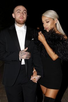 Ariana Grande Makes Rare Public Appearance with Boyfriend Mac Miller at Oscar Afterparty