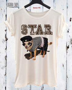 Star Dog Cotton T-shirt / Trending Clothing Apparel / Fashion Puppy / Animal Graphic Tank Top / Tank Top Hand Screen Printed by Eugoriashop