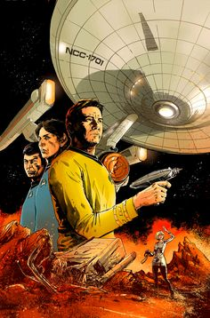 """gabrielhardman: """"Cover for STAR TREK: WAYPOINT by me, Gabriel Hardman. I wrote and drew a Phase II story. Corinna Bechko wrote a TOS story w/ art by Christopher Herndon. On sale in July. Star Trek Vi, Star Trek Ships, Starfleet Ships, Star Trek Characters, Star Trek Starships, Star Trek Original, Starship Enterprise, Great Tv Shows, Sci Fi Fantasy"""