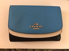 COACH COLORBLOCK CROSSGRAIN LEATHER small wallet in azure blue/black #F53779 NWT