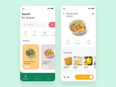 Recipe App Design by BatoniTato Ui Design Mobile, Mobile Application Design, Design Android, App Ui Design, Design Design, Flat Design, Design Thinking, Web Design Quotes, Cooking App