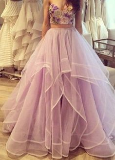 Light Lavender Tulle Two Piece Prom Gown Embellished With Embroidery