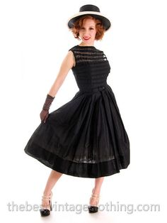 a0c1d52d732759 Gorgeous Vintage Summer Dress Black Cotton Great Details 1950s R&K Original  Small